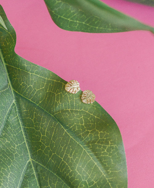 Gold Monstera Leaf Tiny Earrings