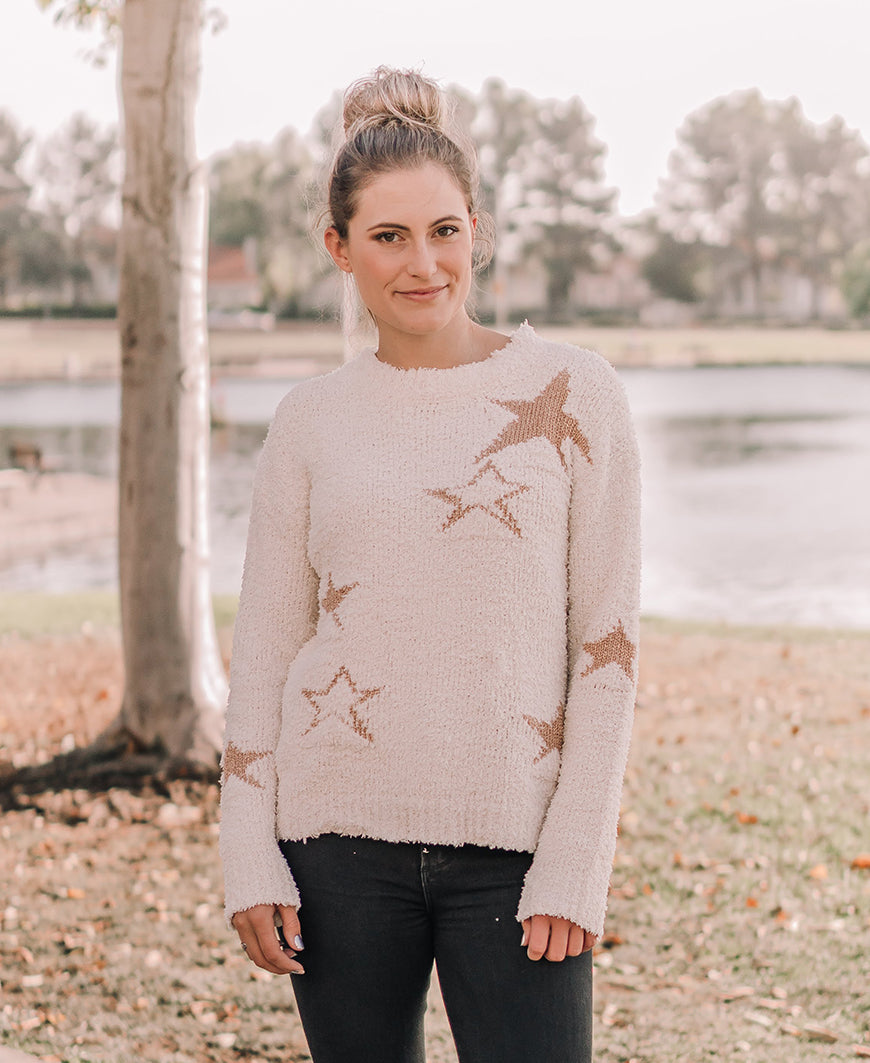 Metallic Star Pullover Sweater (7431)