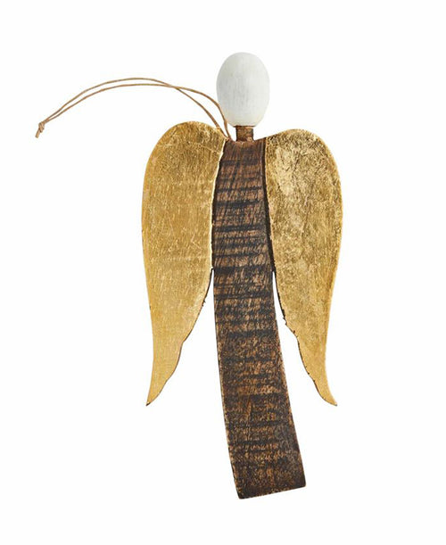 Gold Wooden Angel Ornament (46700126G)