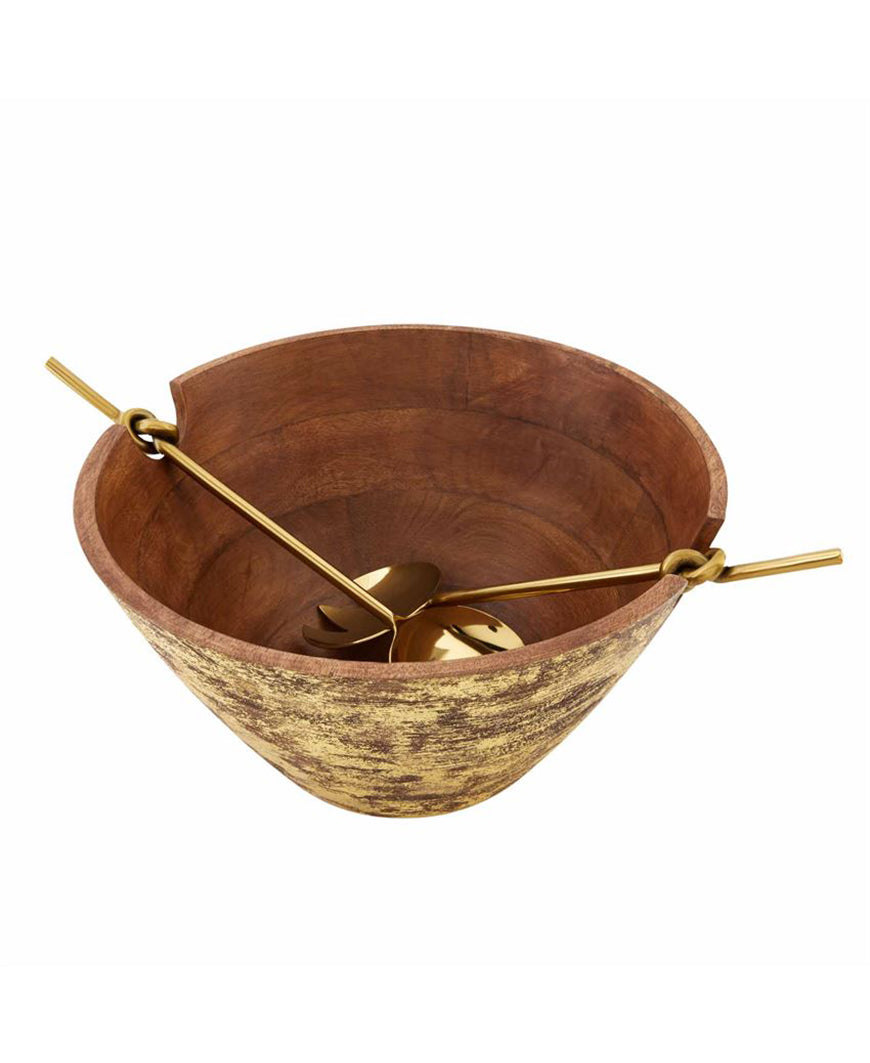 Gold Wood Serving Bowl Set (46000183)