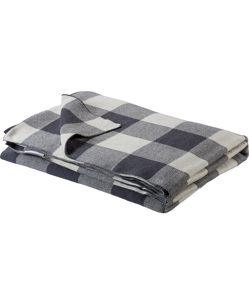 Gray Knit Buffalo Check Throw (100369)