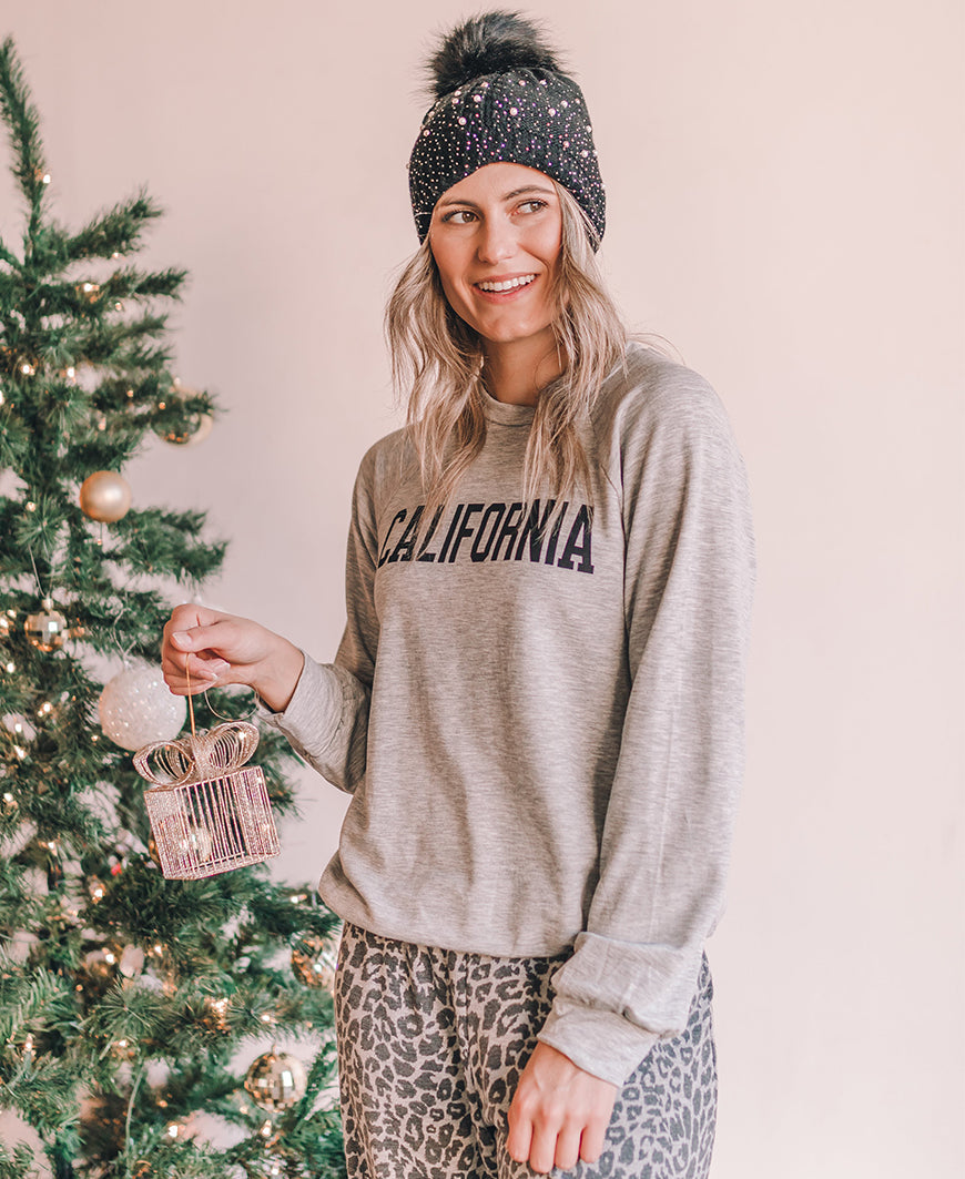 Gray California Sweatshirt Top (RT7853-RK1457)