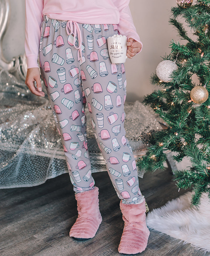 Gray Coffee Mug Knit PJ Pants (557439-L482B)