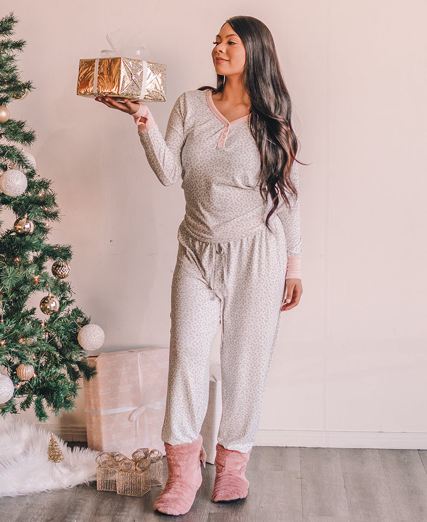 Gray Leopard Knit PJ Pants (577386-E395MB)