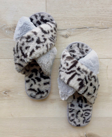 Blush Leopard Print Faux Fur Crossband Slide Slipper