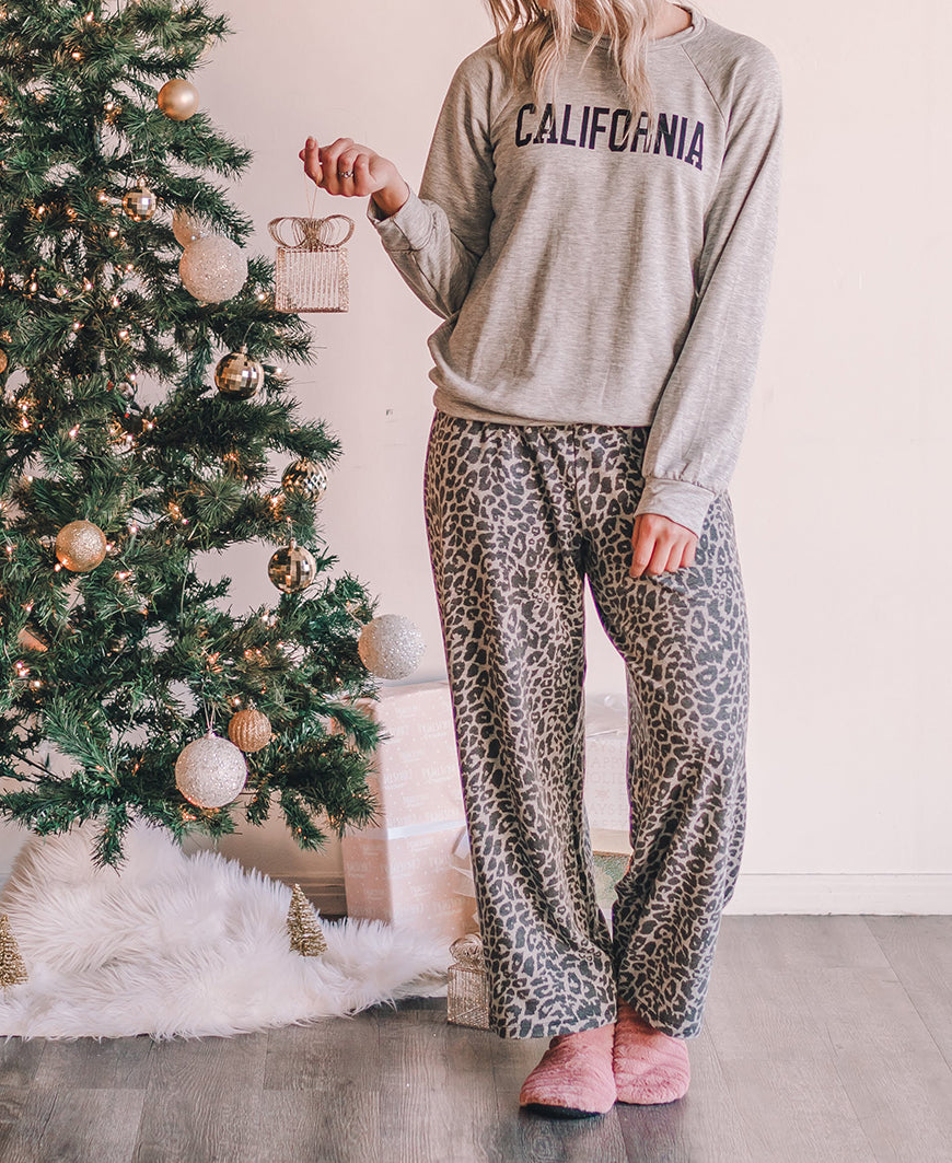 Gray Leopard PJ Pants (14489-19)
