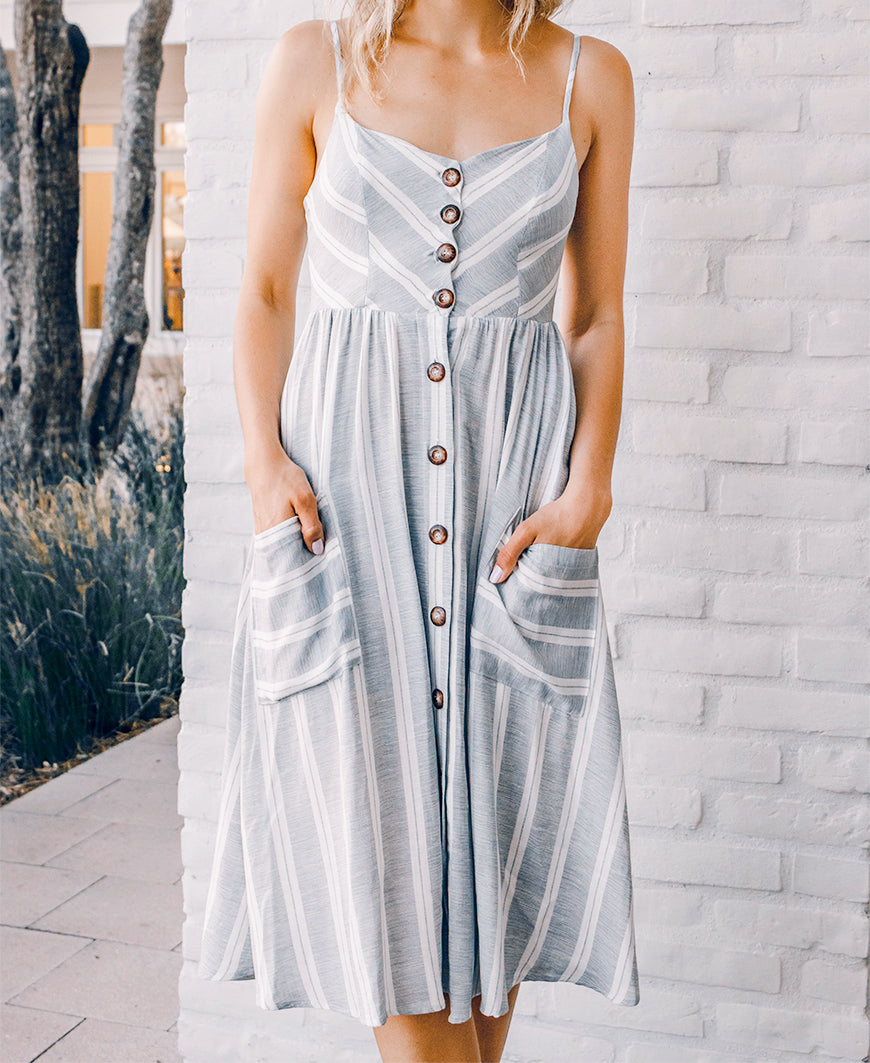 Gray Striped 'Poppy' Button Front Midi Dress (14769-179)