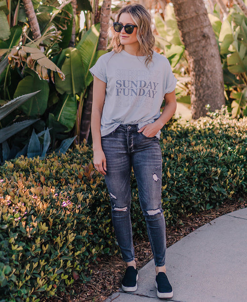 Gray Wash Mid Rise Distressed Skinny Jeans (P7155GY-SA)