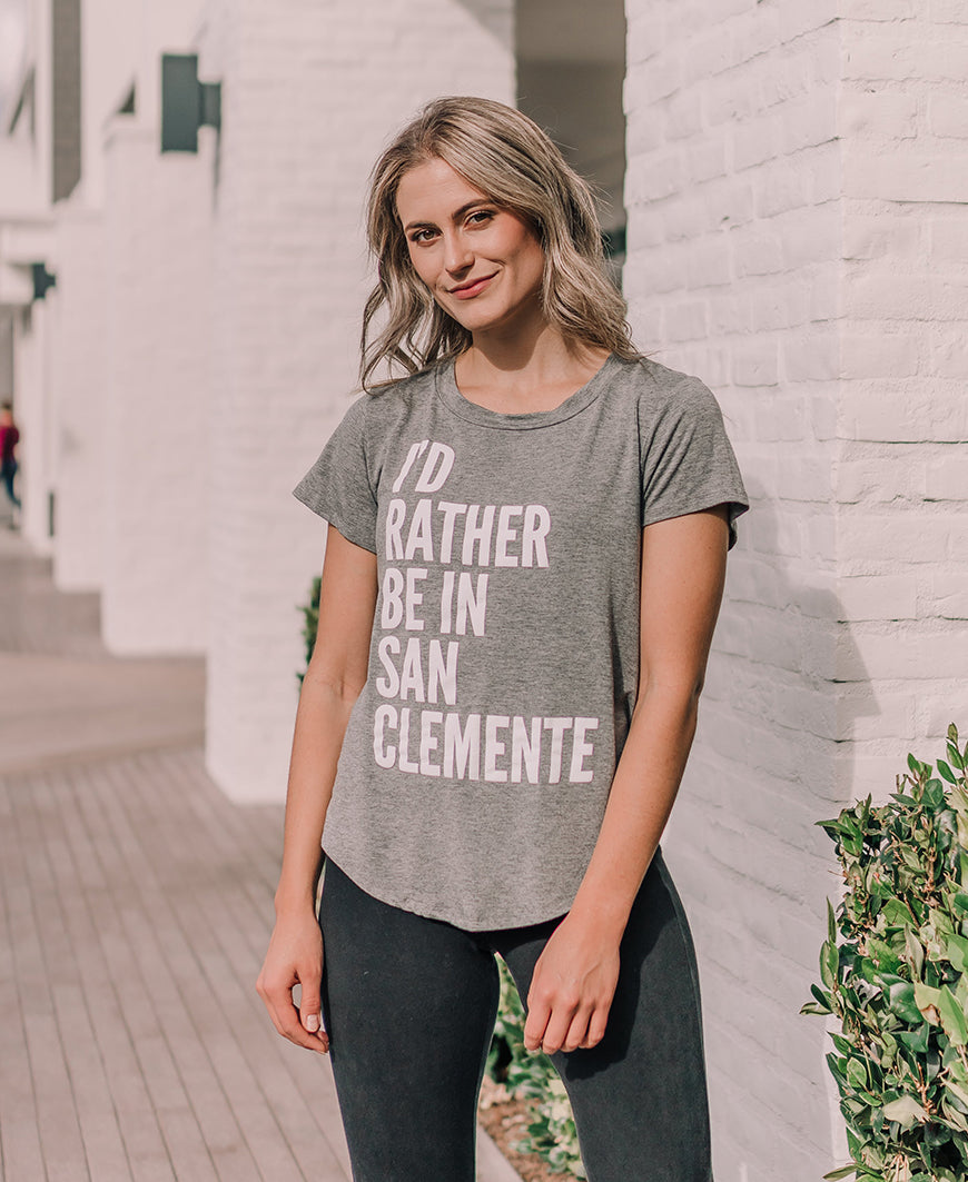 Gray Rather Be In San Clemente Graphic Tee (15087)