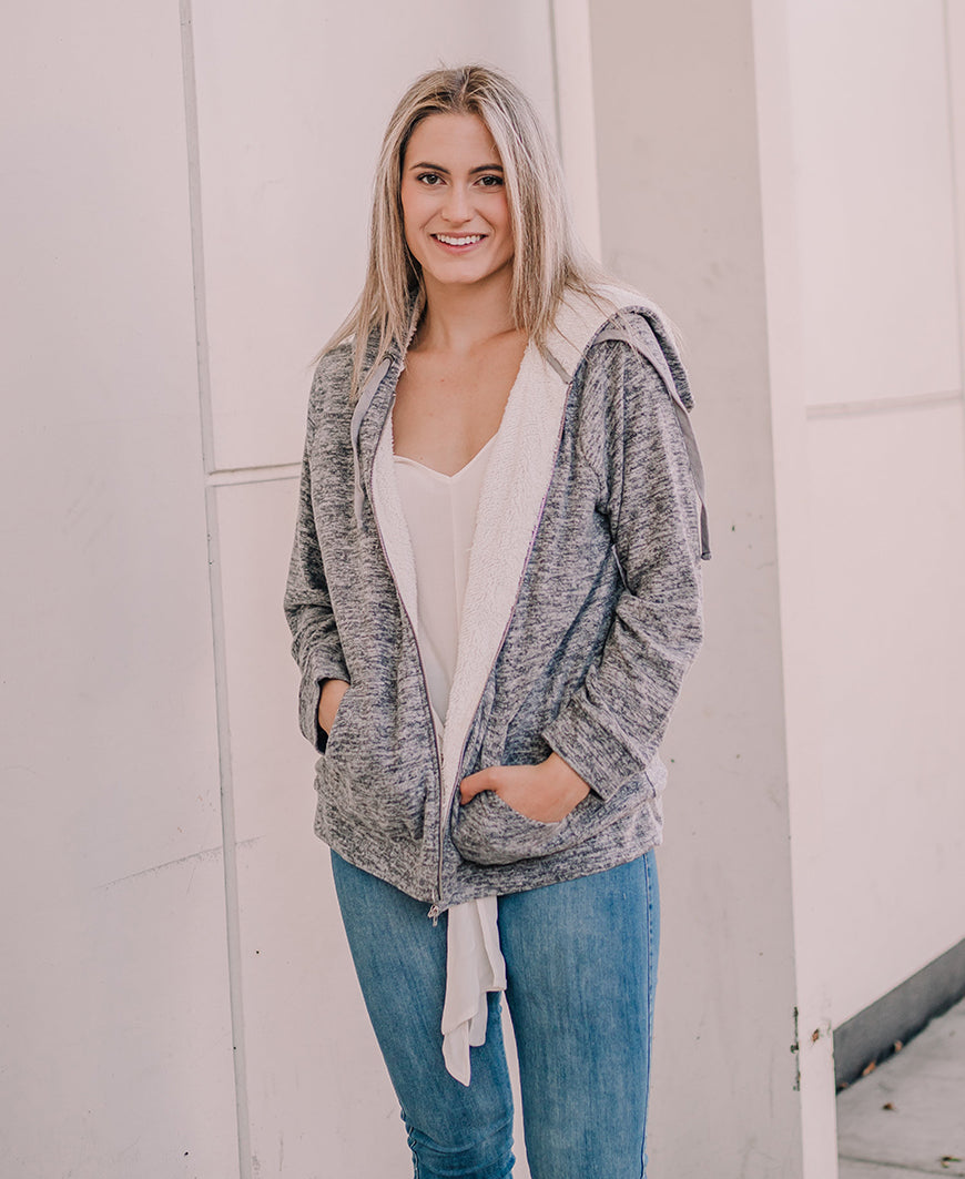 Gray Sherpa Lined Zip-Up Sweatshirt (80297)