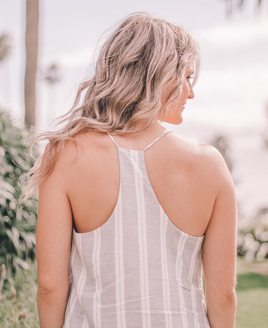 Gray Striped Racerback Cami (ST9171)