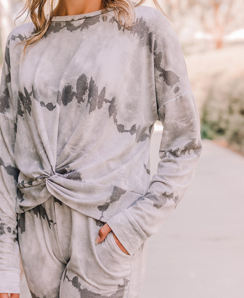 Gray Tie Dye Twist Front Pullover Top (10573T)