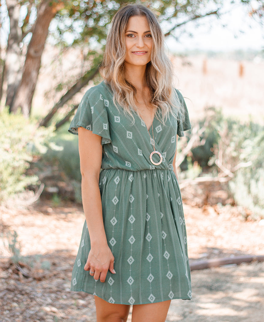 Green Aztec 'Zoey' Keyhole Back Dress