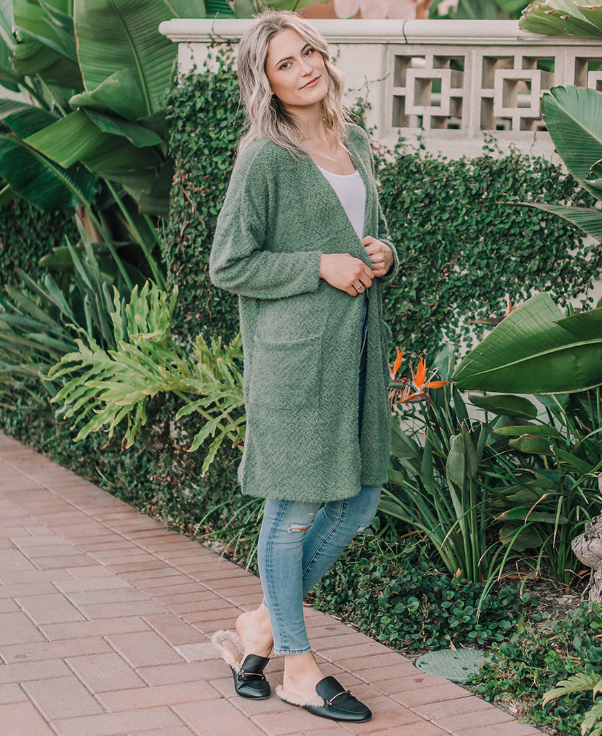 Olive Green Pocket Cardigan (J-35390)