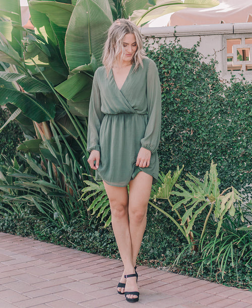 Army Green 'Fanny' Long Sleeve Wrap Top Dress (15045)