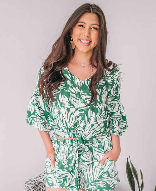 Green Abstract Palm Print Tie Front Blouse