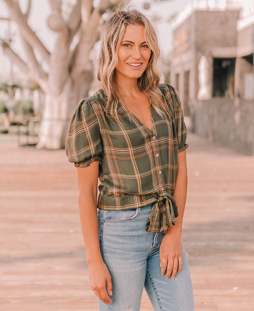 Olive Green Plaid Fall Blouse (TB5277)