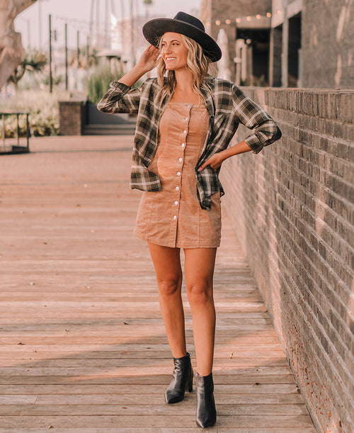 Olive Green Plaid Fall Button Up Top (EM5526)