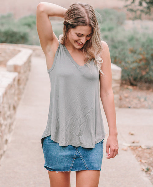 Sage Green Hi-Lo V-Neck Tank Top