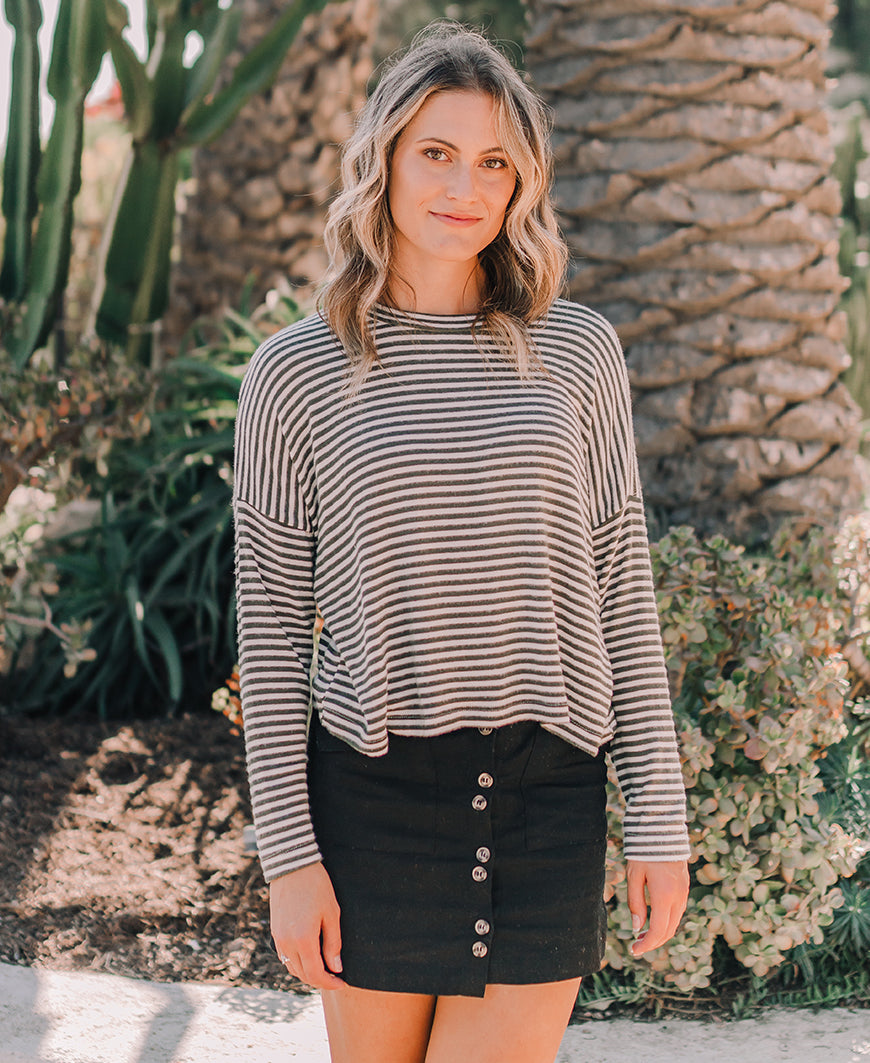 Olive Striped Sweater Top (K5704ST)