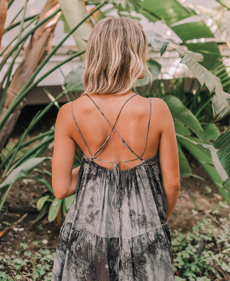 Dark Sage Tie Dye Strappy Dress (ID30400C)