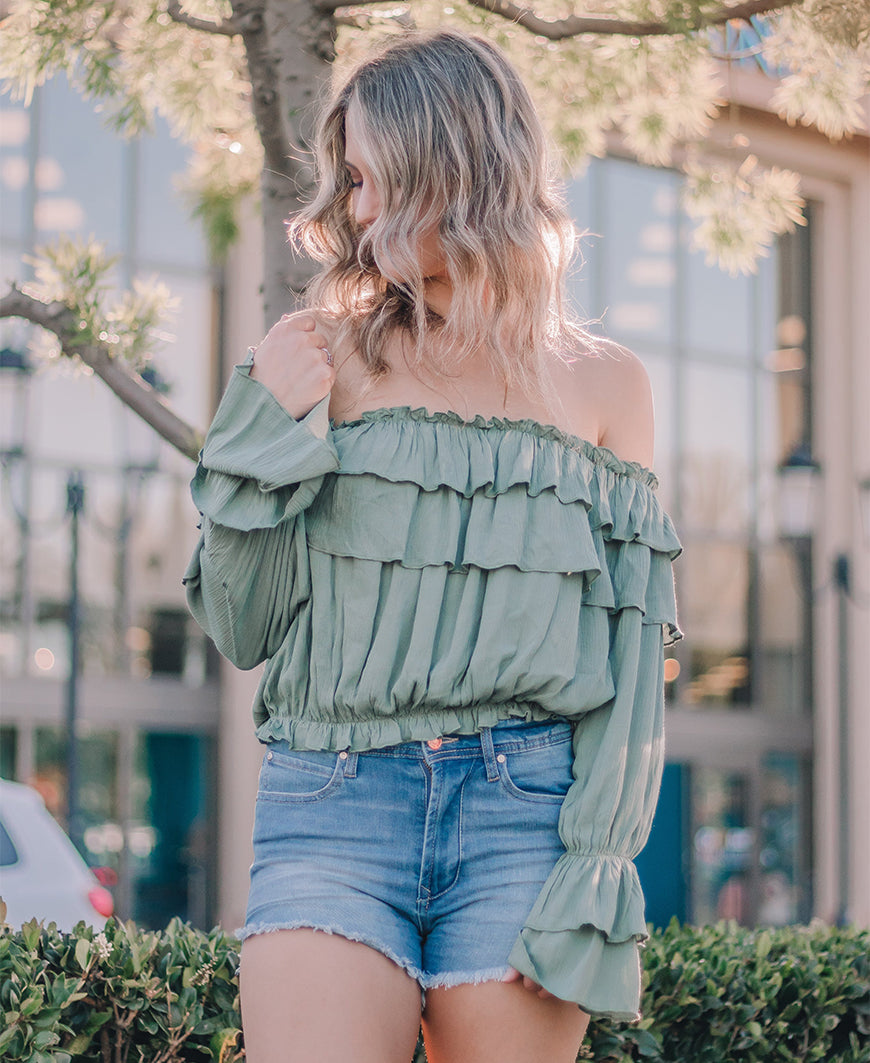 Sage Off Shoulder Ruffle Crop Top (19-248LTJ)