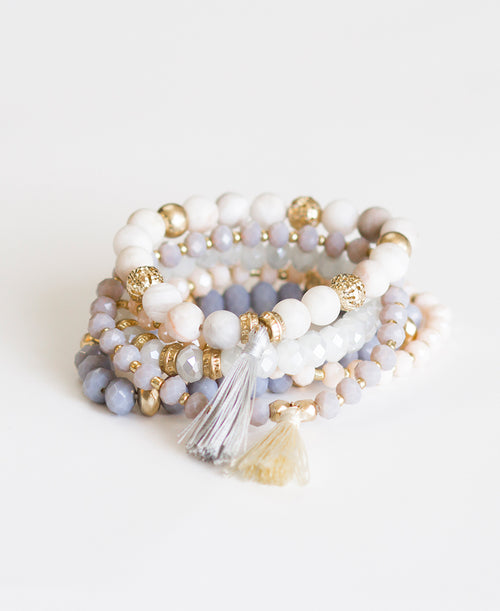 Grey & Blush Tassel Bracelet Set