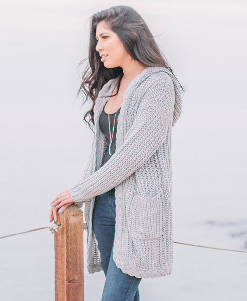 Grey Braid Trim Hoodie Cardigan