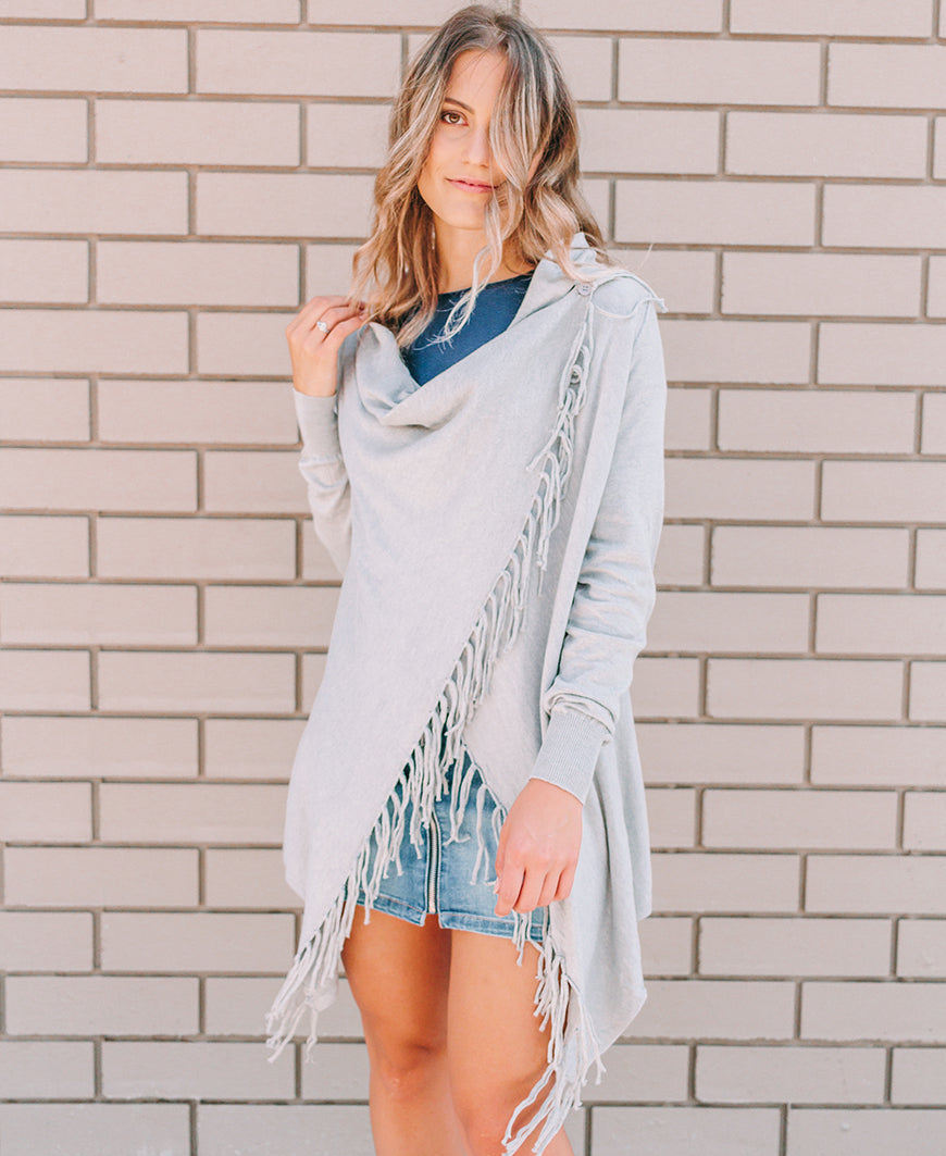Heather Grey Fringe Cardigan