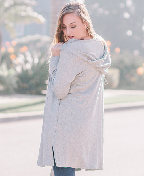 Grey Long Hooded Cardigan