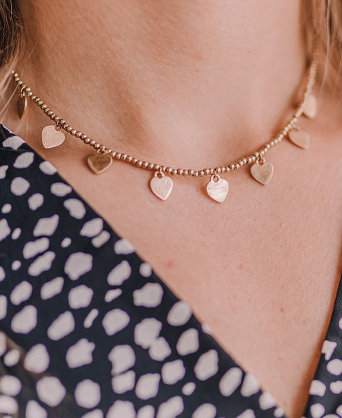 Gold Heart Choker Necklace