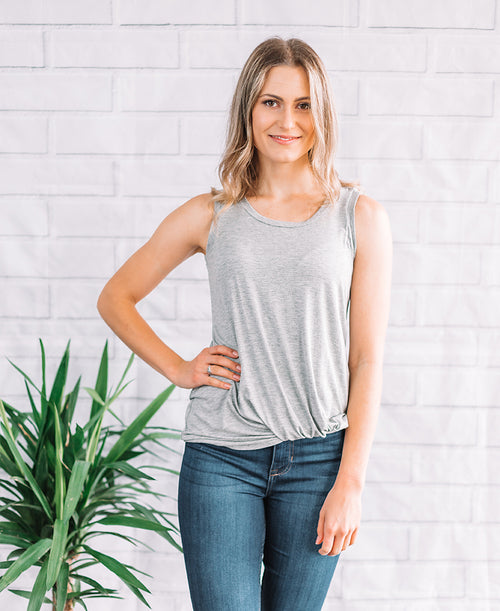 Heather Grey Knot Front Tank (14803)