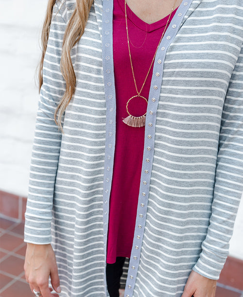 Grey Striped 'Kelly' Button Down Jacket