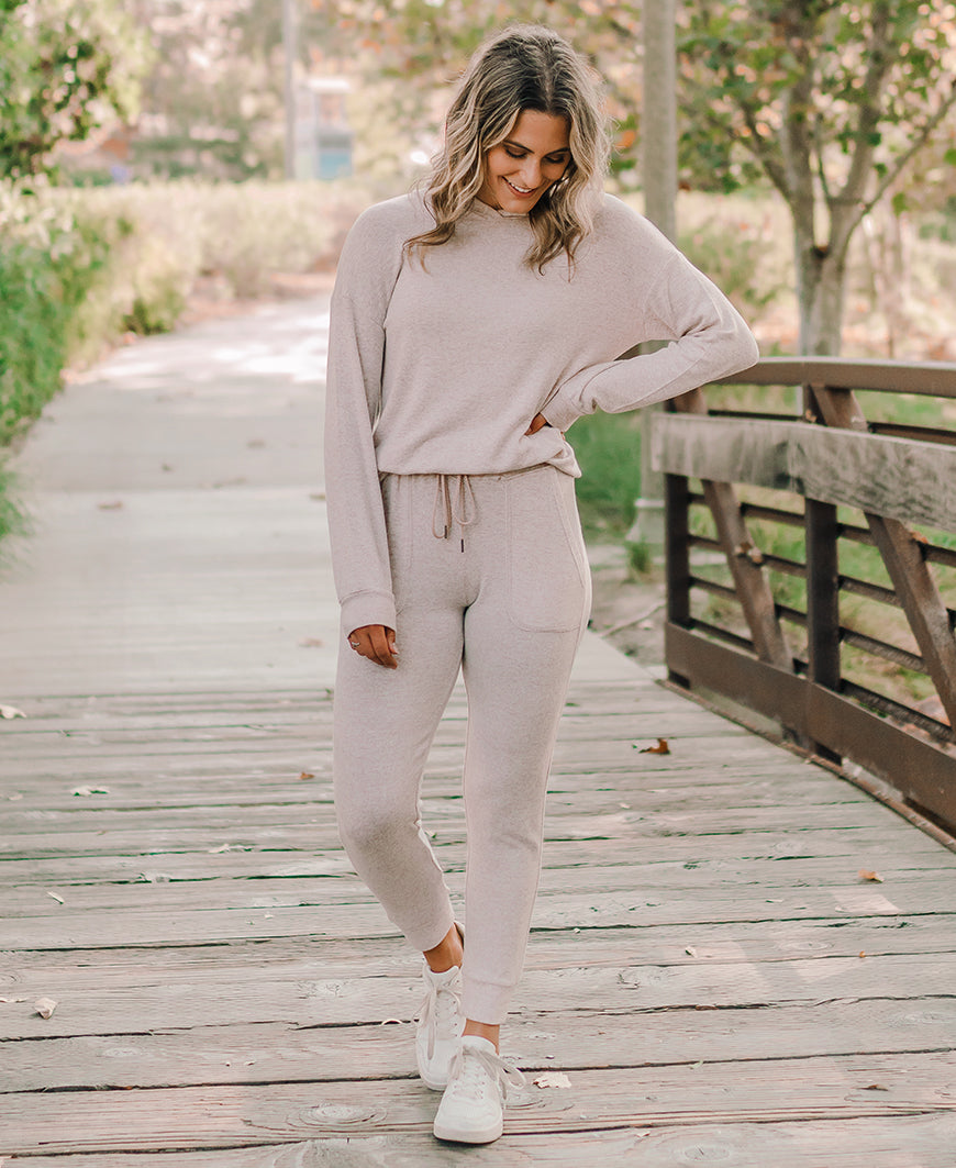fall loungeswear set tan heather hoodie and jogger sweatpants