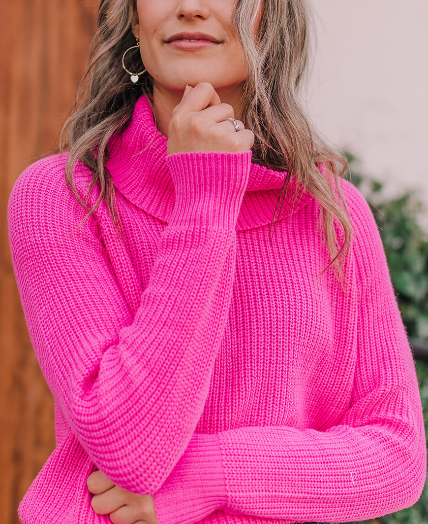 Fuschia Cowl Neck Sweater (M9047)