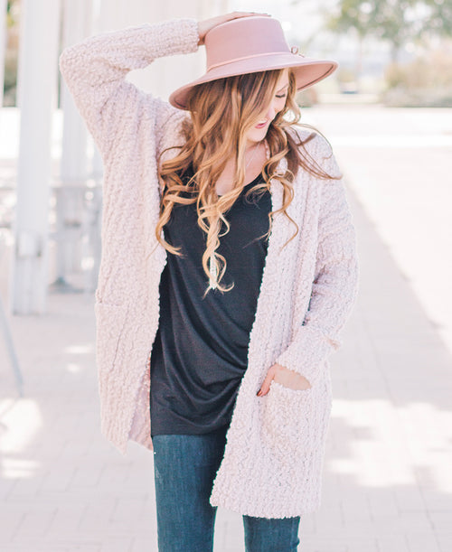 Ivory Chunky Knit Open Cardigan