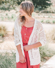 Ivory Cuffed Loose Knit Open Cardigan