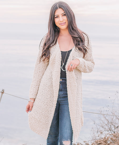 Ivory Nubby Long Open Cardigan