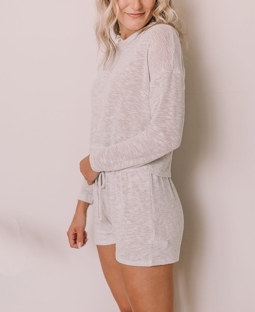 Ivory Loose Knit Lounge Shorts (7A1759)