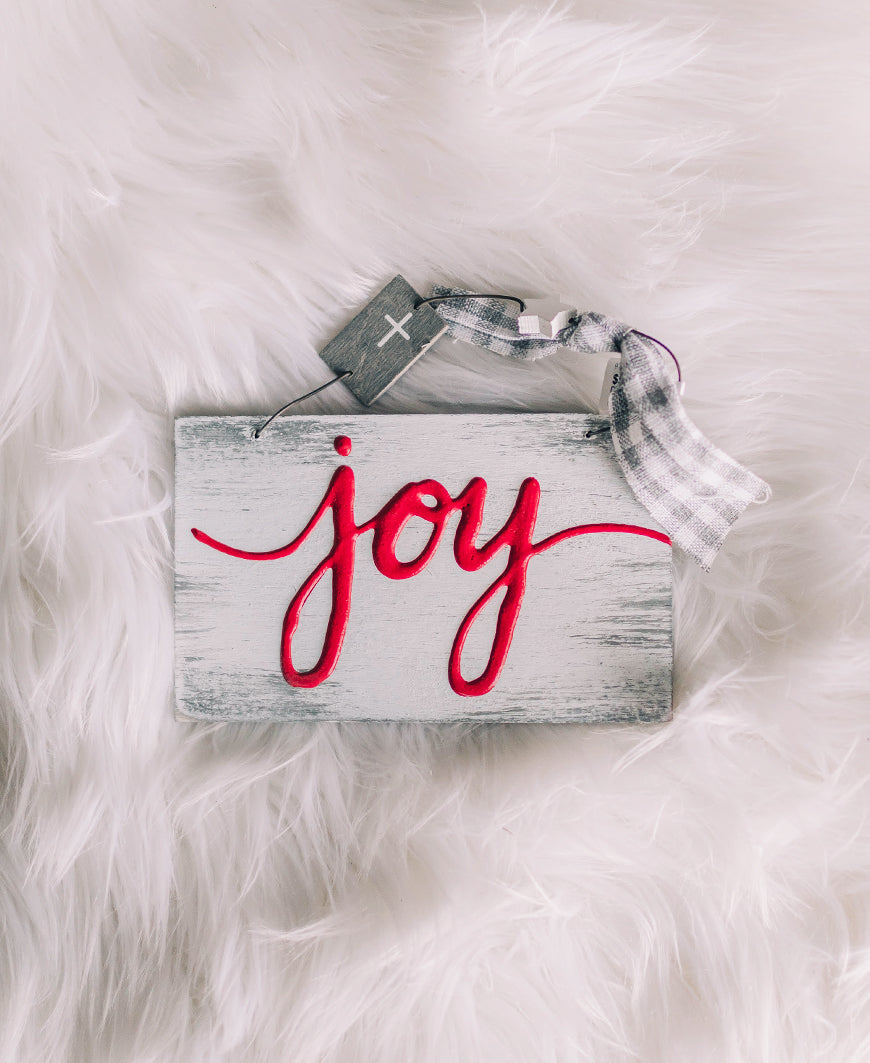 Joy Rustic Sign Ornament (9736446)