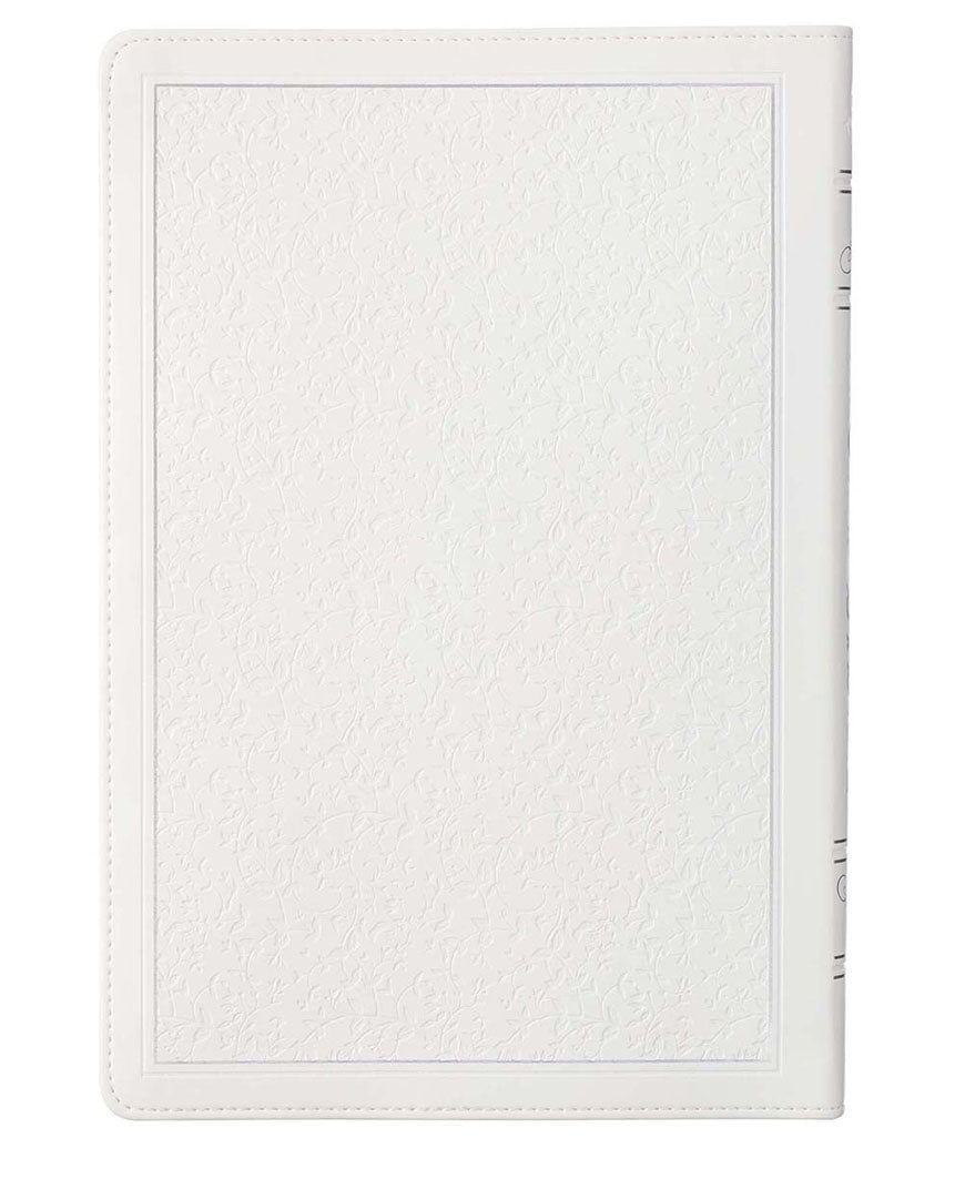 White Faux Leather Large Print KJV Bible with Thumb Index