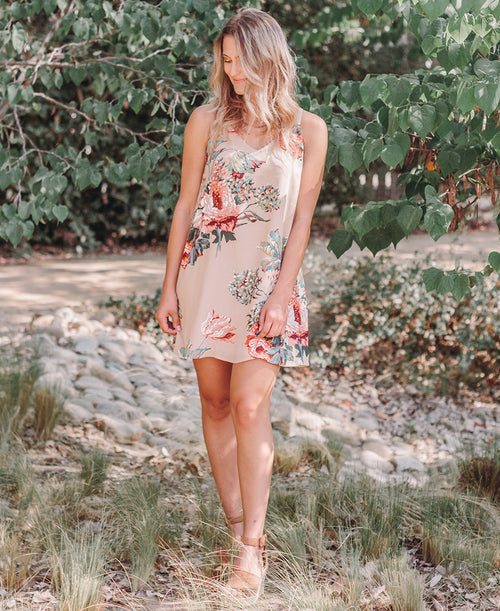 Latte Floral Print X Back Dress
