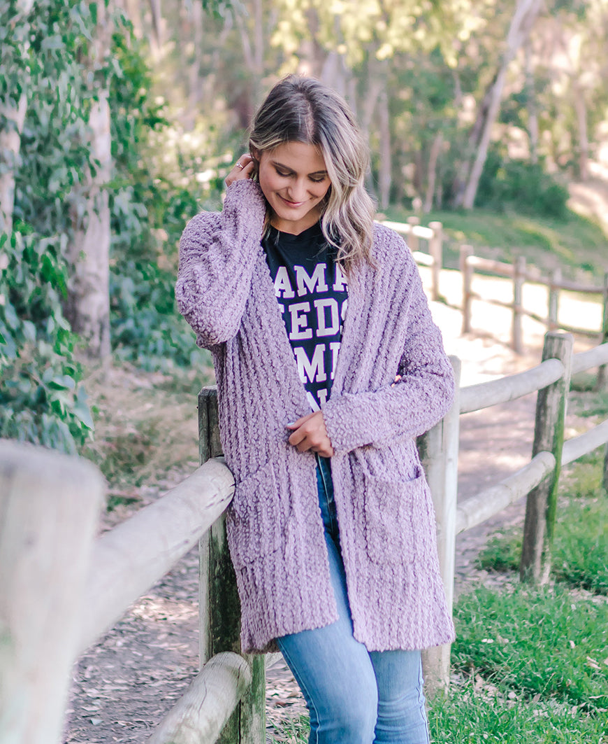 Mauve Soft Open Pocket Cardigan (HR3272)