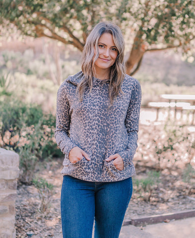 Dusty Pink Leopard Ribbed Cardigan (4RR3861)