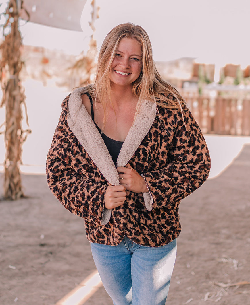 Reversible Faux Fur Animal Print Jacket (J36872)