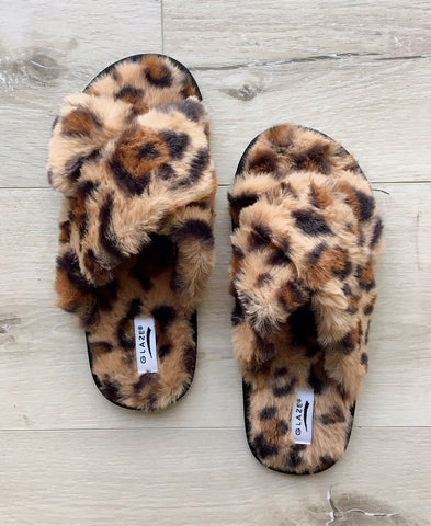 Tan Leopard Print Faux Fur Crossband Slide Slipper