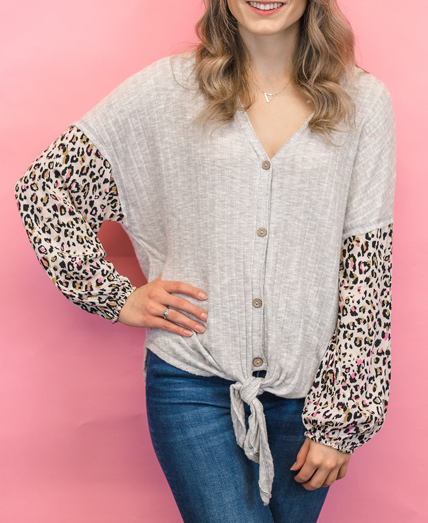 Leopard Sleeve Tie Front Top (HT16016HH)