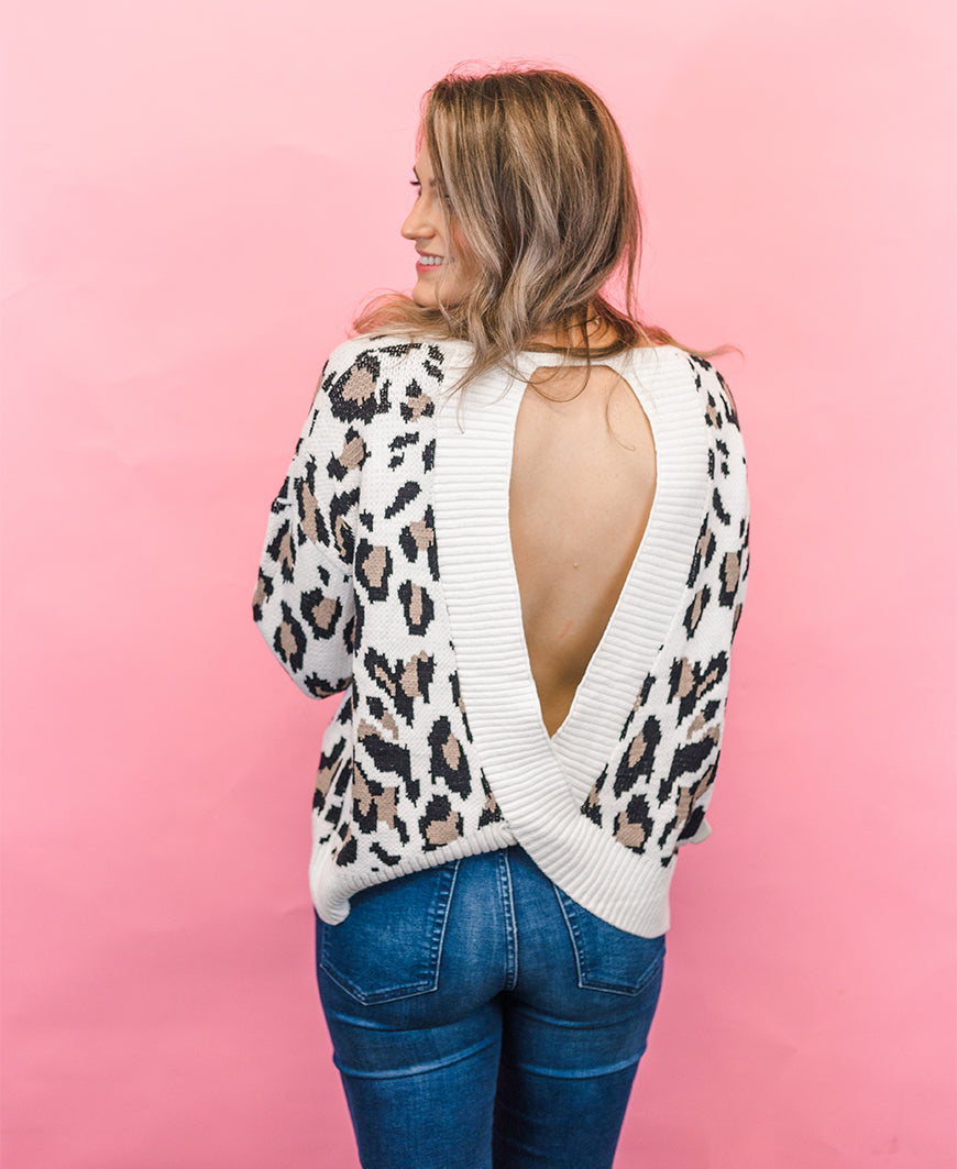 Leopard Print Open Back Pullover (M0939)