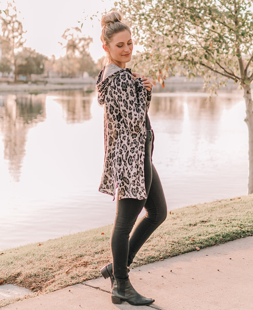 Heather Gray Leopard Hooded Cardigan (14987)