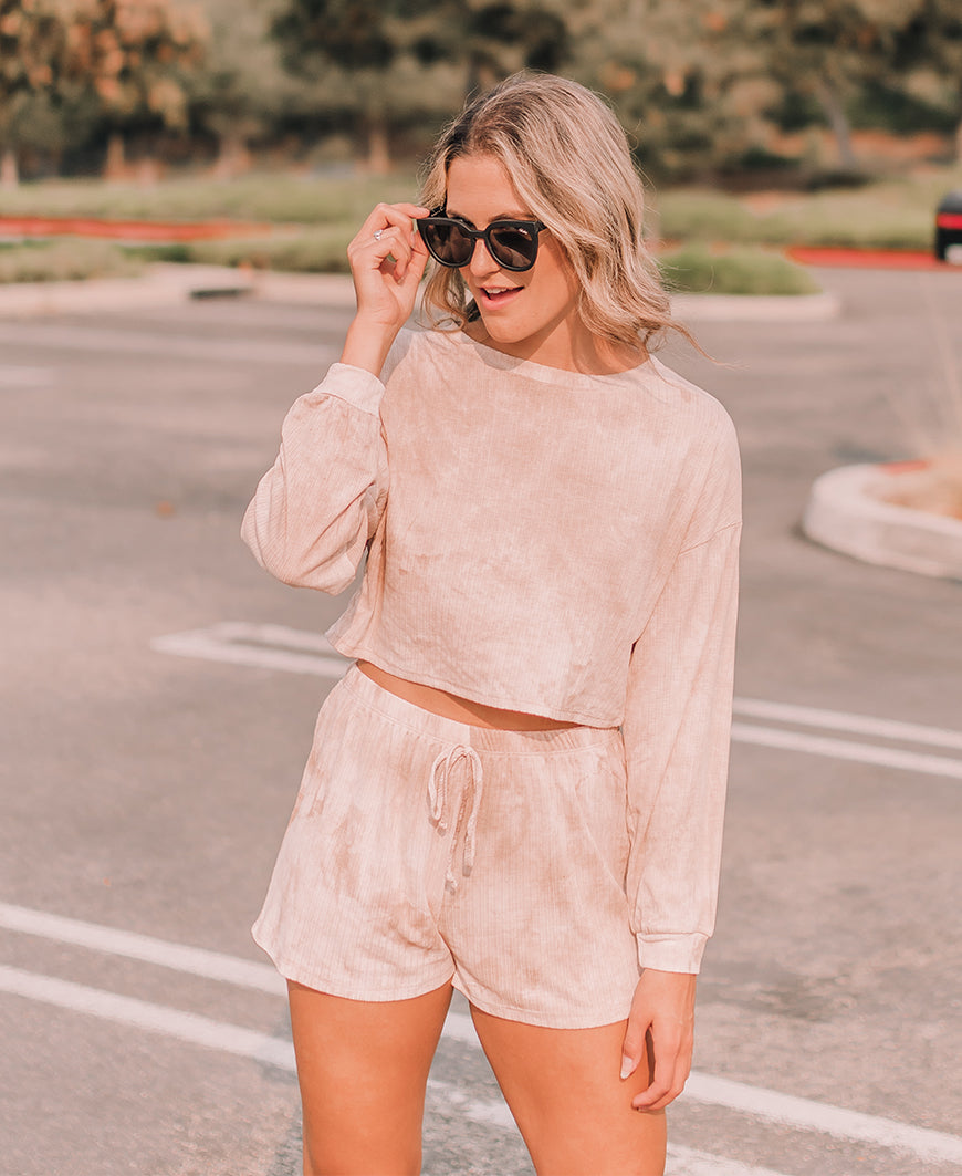 Blush Tie Dye Loose Knit Lounge Top (18433E)